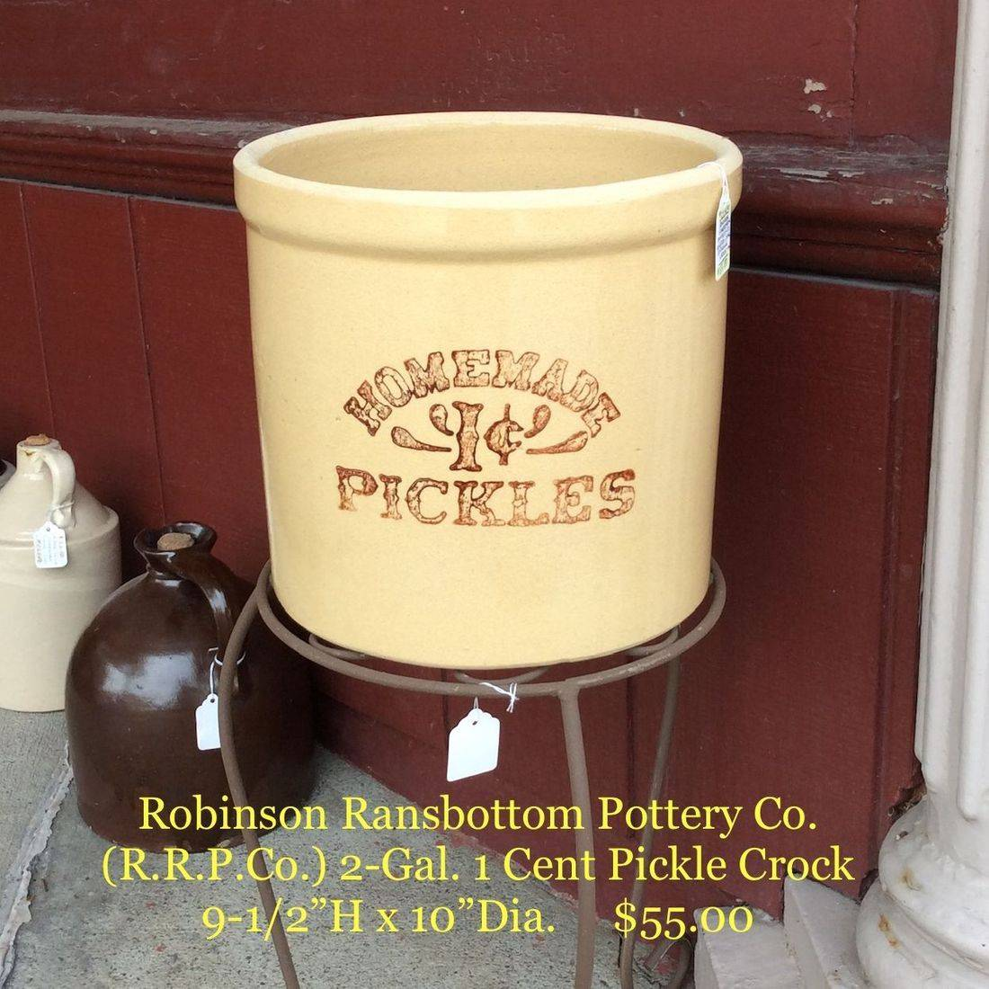 Robinson Ransbottom Pottery Co. (R.R.P.Co.), 2-Gal. 1 Cent Pickle Crock (as seen on Friends)   $55.00