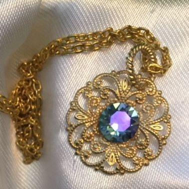 purple, swarovski crystal, filigre, necklace, women, girls, jewelry, charity, 18 inch, gold