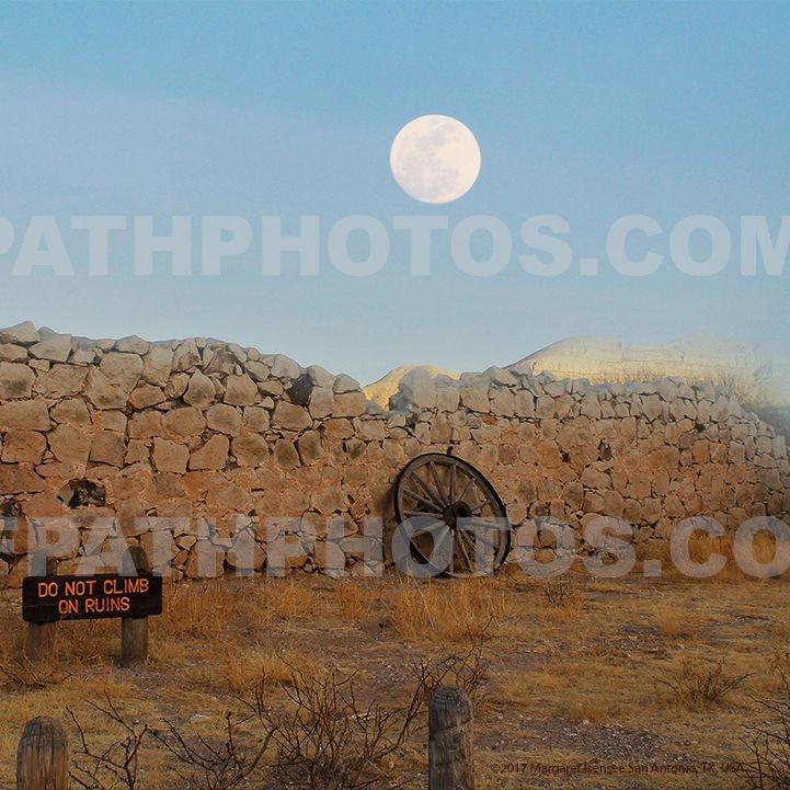 full moon, ruins, El Paso, desert, hills, rocks, nature, photography