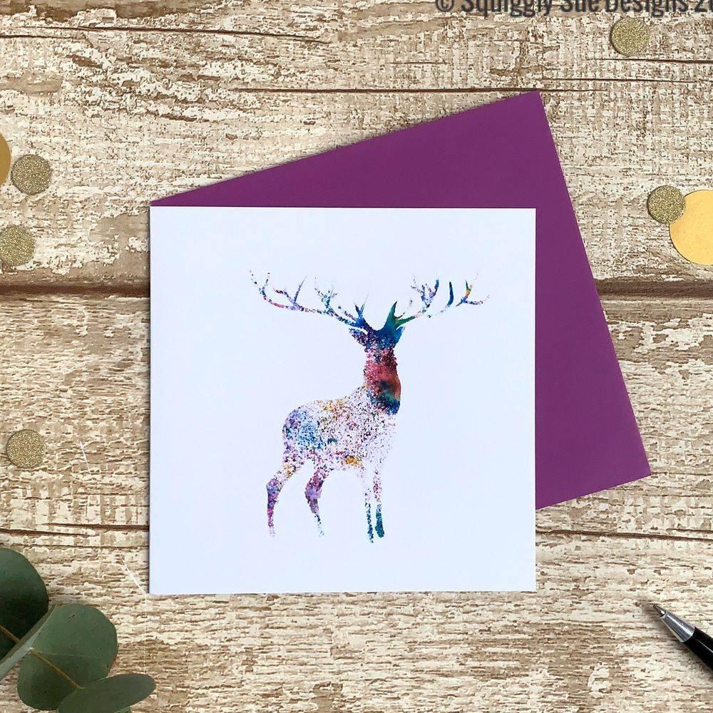 Stag, deer, watercolour print, multicoloured greetings card christmas