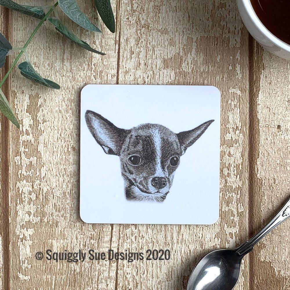 Chihuahua coaster pen & ink sketch