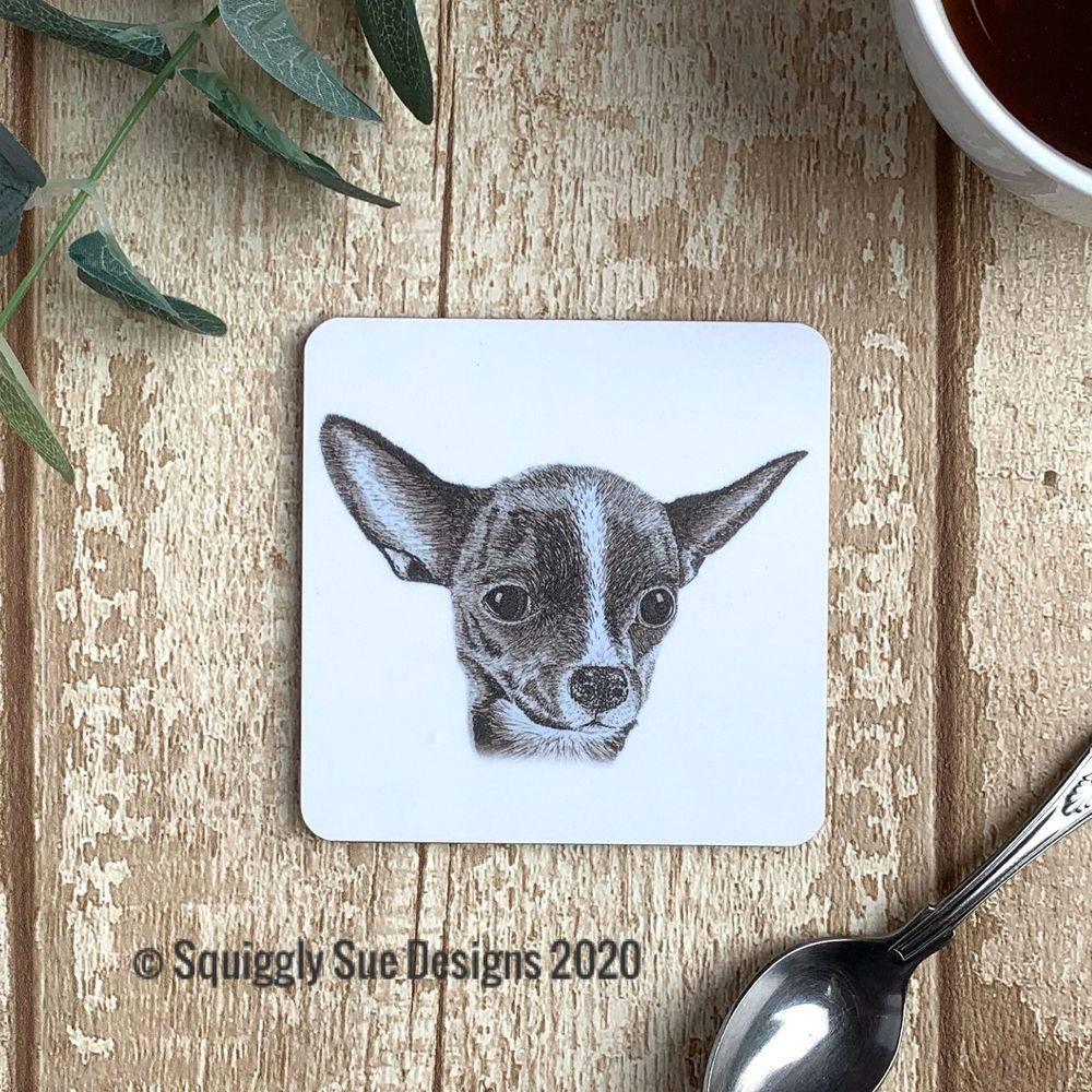 Chihuahua coaster pen & ink sketch