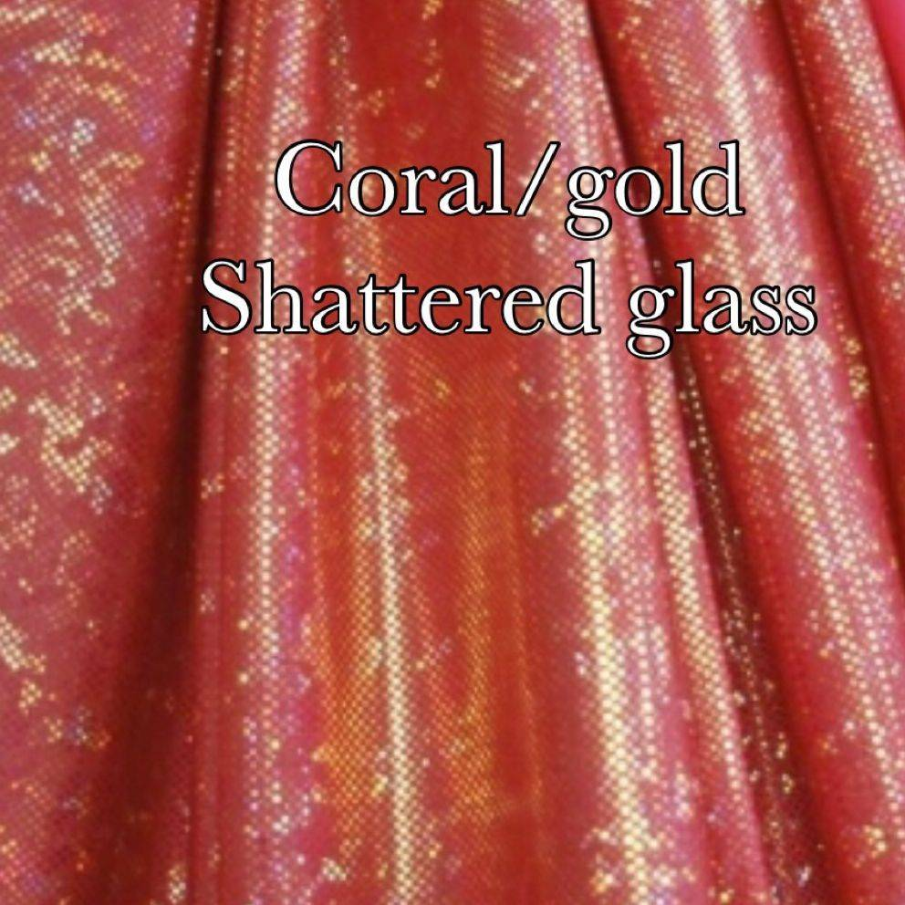 Coral gold shattered glass