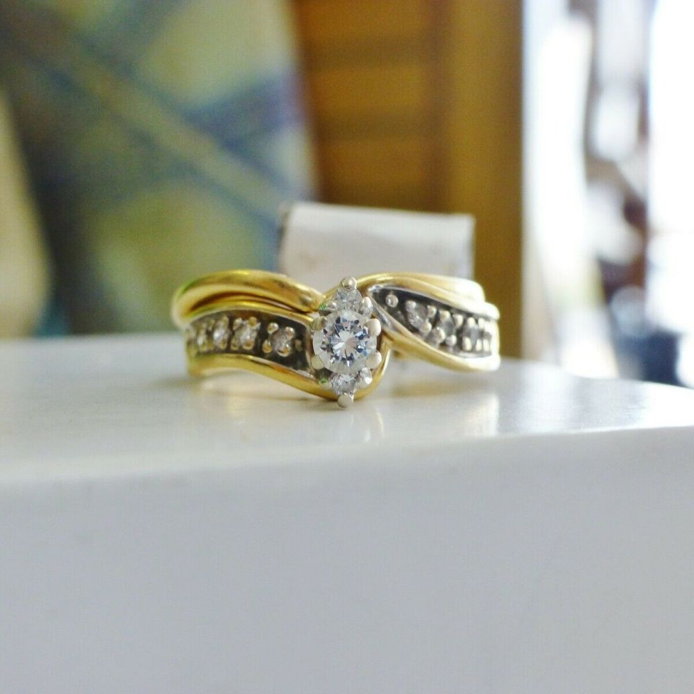 Yellow Gold marquise Shaped Diamond Composite Wedding Set