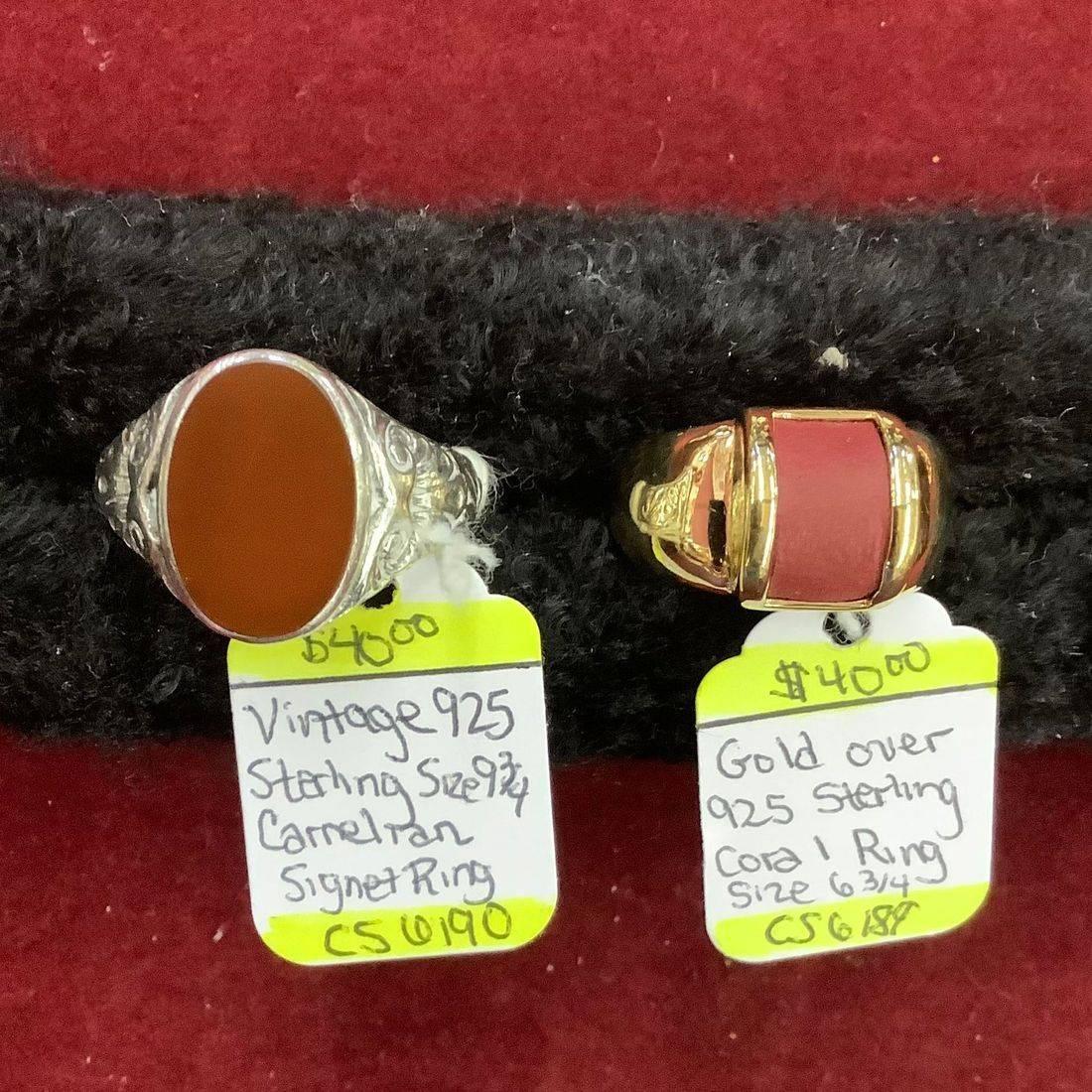 Vintage Sterling Carnelian size 9-3/4 Signet Ring $40 , Gold over Sterling Coral size 6-3/4 Ring $40