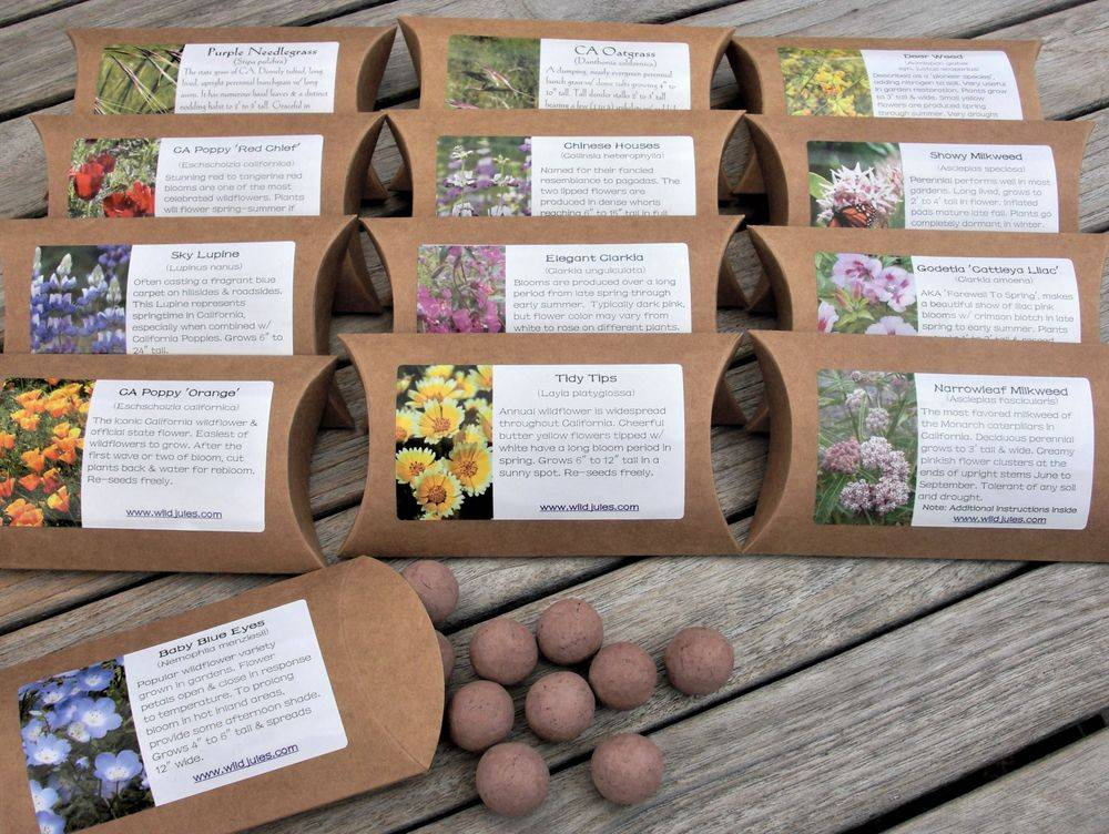 Garden Gift, wildflower seed balls, California Poppy Seed