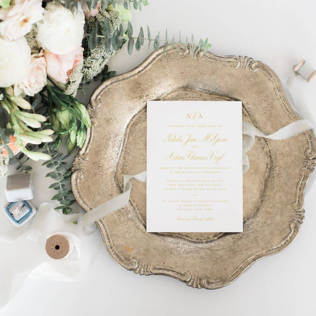 Elegant classic modern gold and white wedding invitations with formal fonts