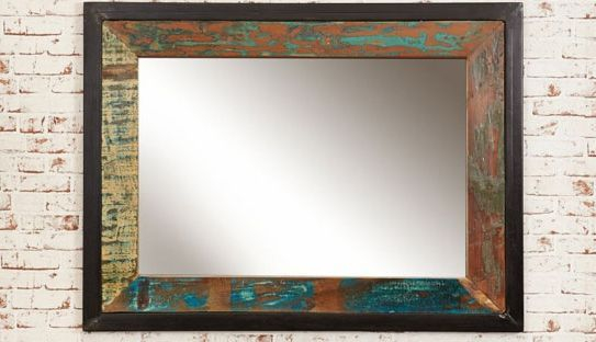 wooden framed antique mirror