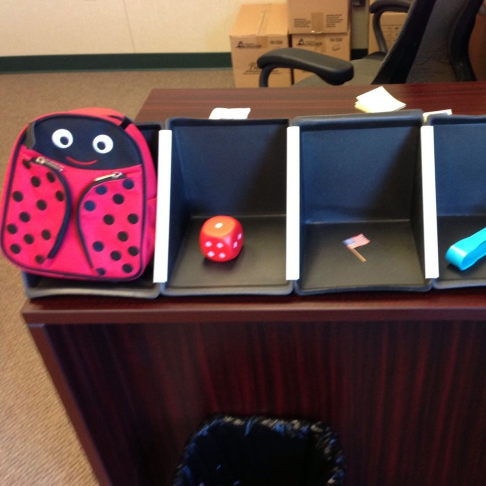 A tactile schedule with ladybug backpack, dice, flag, and OT tongs in different compartments to represent different parts of the day.