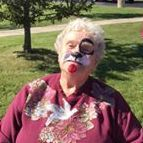 senior woman with face paint