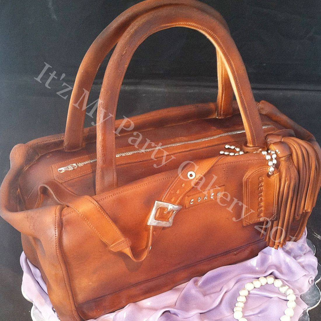 Brown Coach Purse Cake Carved Dimensional Cake Milwaukee