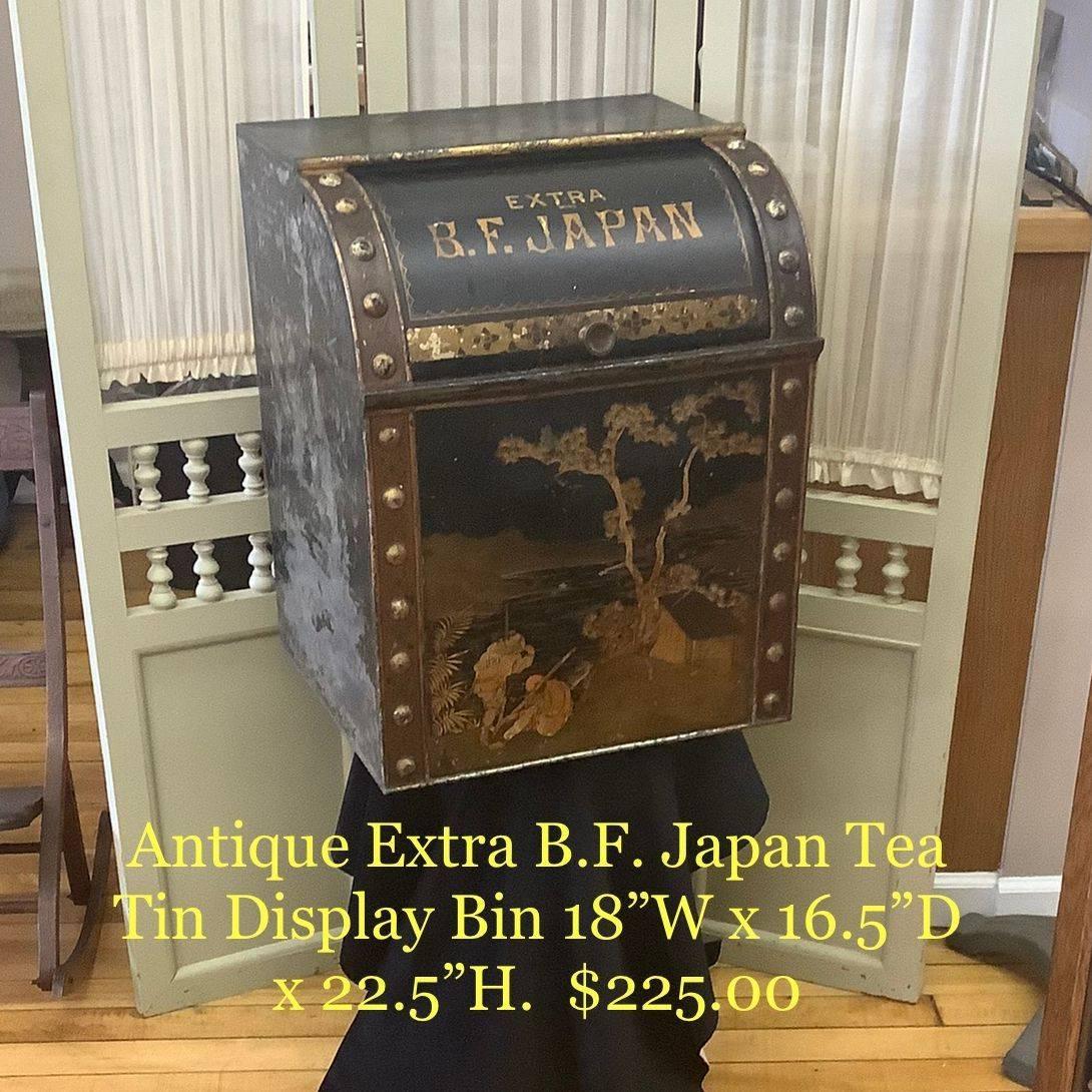Antique Extra B.F. Japan Tea Tin Display Bin   $225.00