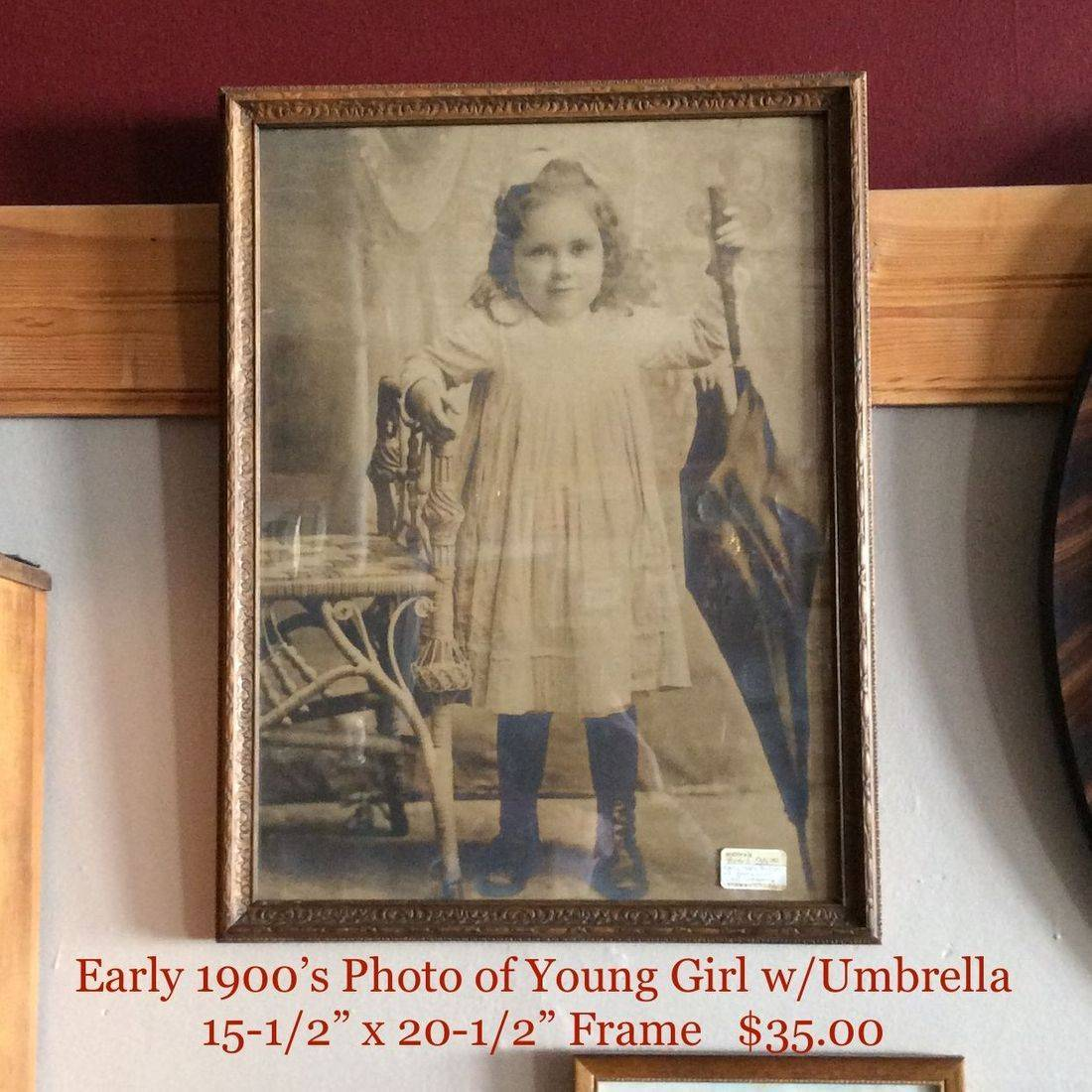 """Early 1900's Picture of Young Girl w/Umbrella  15-1/2"""" x 20-1/2"""" Frame   $35.00"""