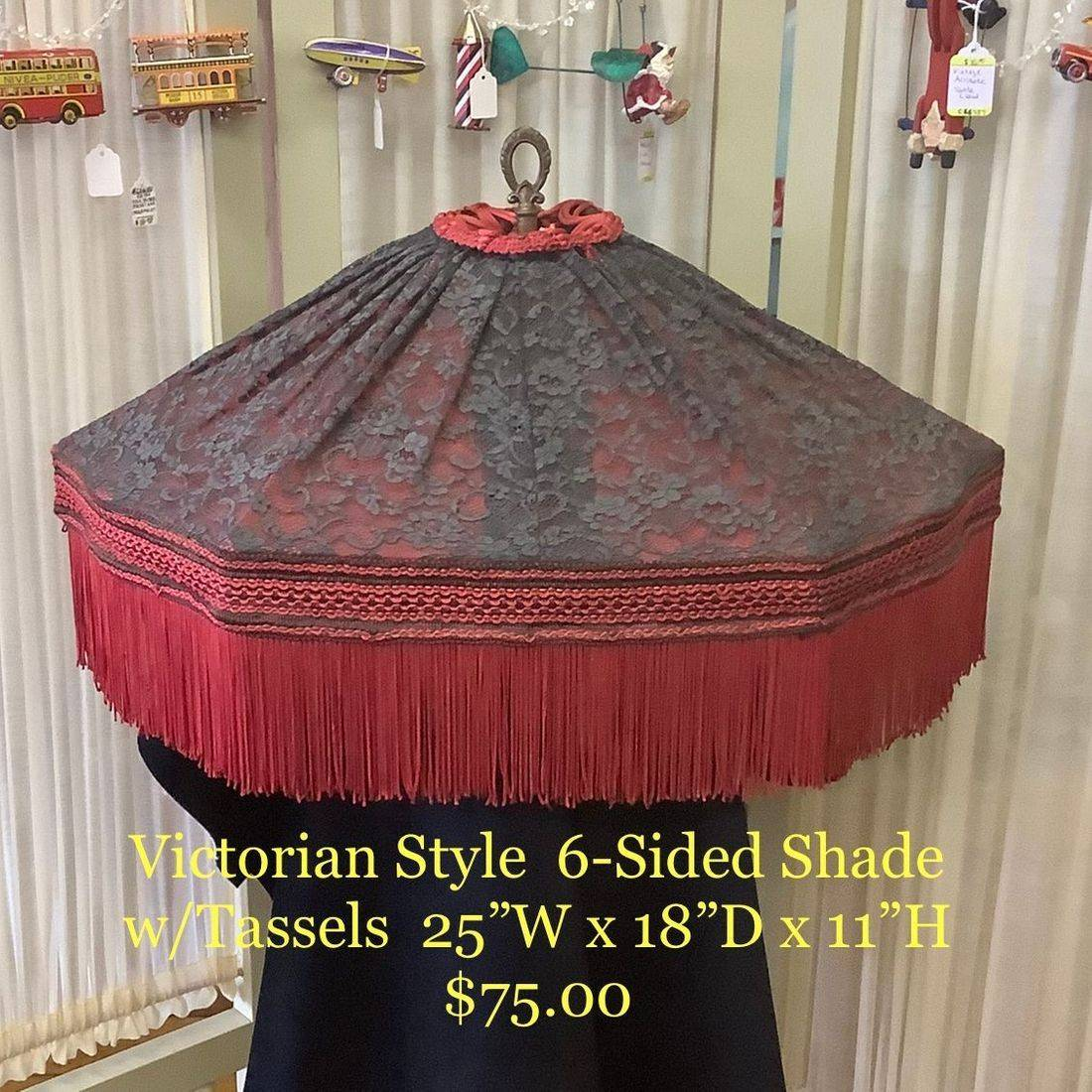 Victorian Style 6-Sided Shade w/Tassels  $75.00