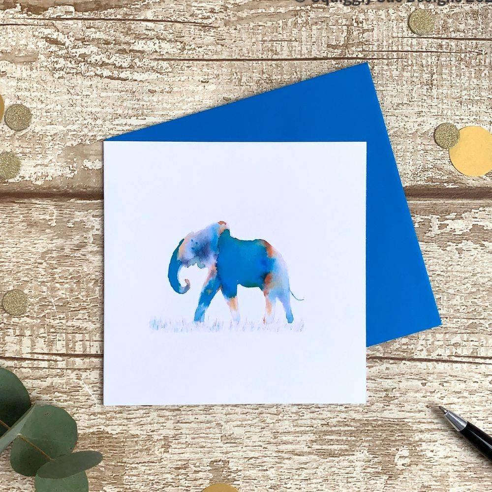 Beautiful blue elephant card from an original watercolour