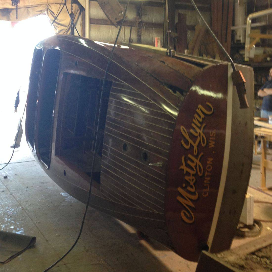 Chris Craft Barrel Back in wood shop at Bergersen Boat