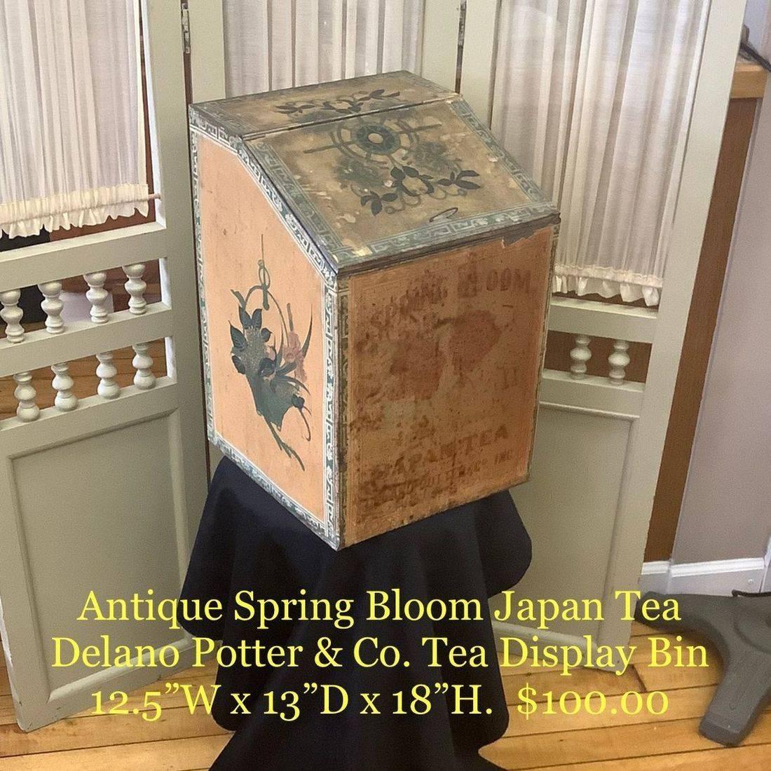 Antique Spring Bloom Japan Tea Delano Potter & Co. Tea Display Bin   $100.00