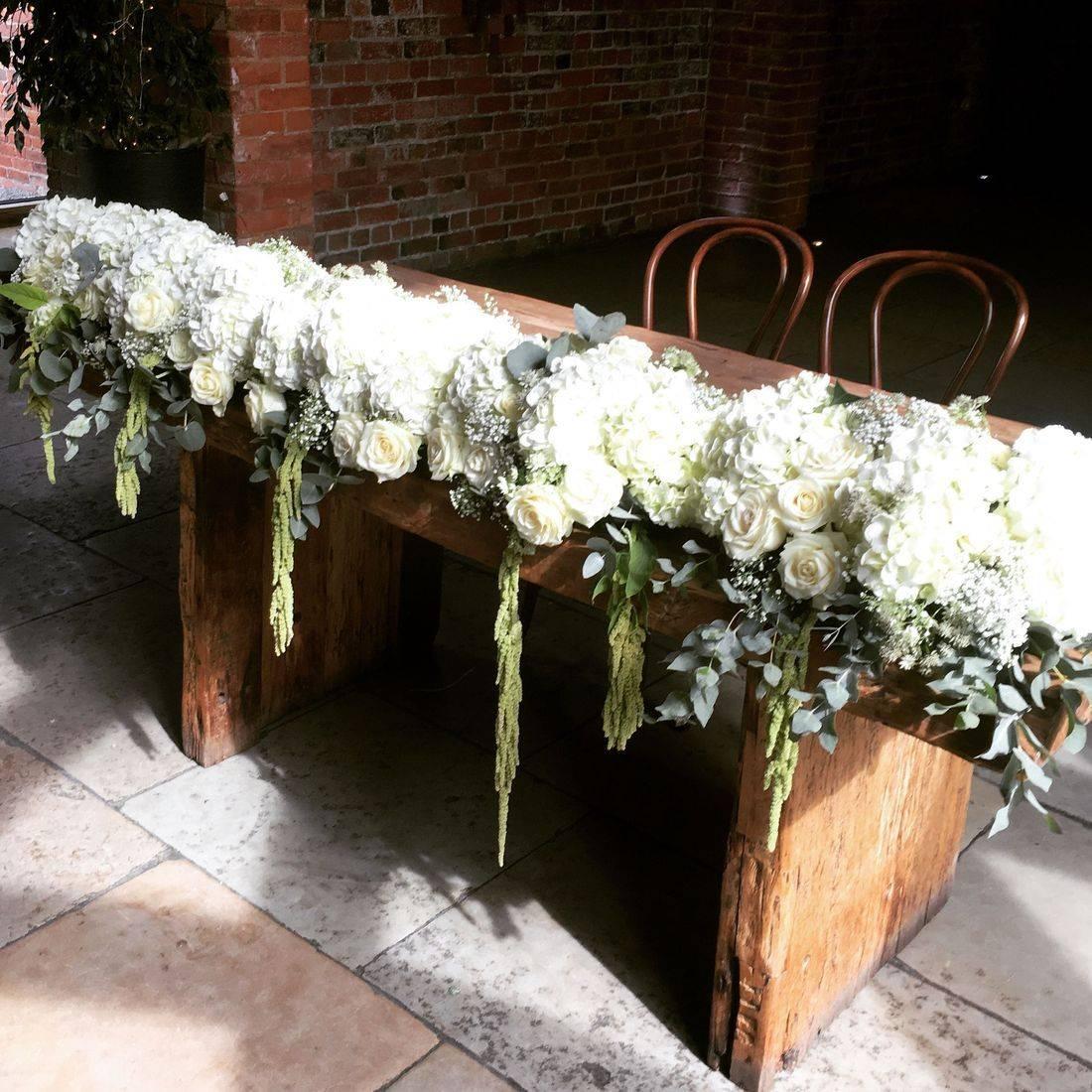 Flower Runner, Shustoke Barn, Luxurious Wedding flowers,  florist, Warwickshire