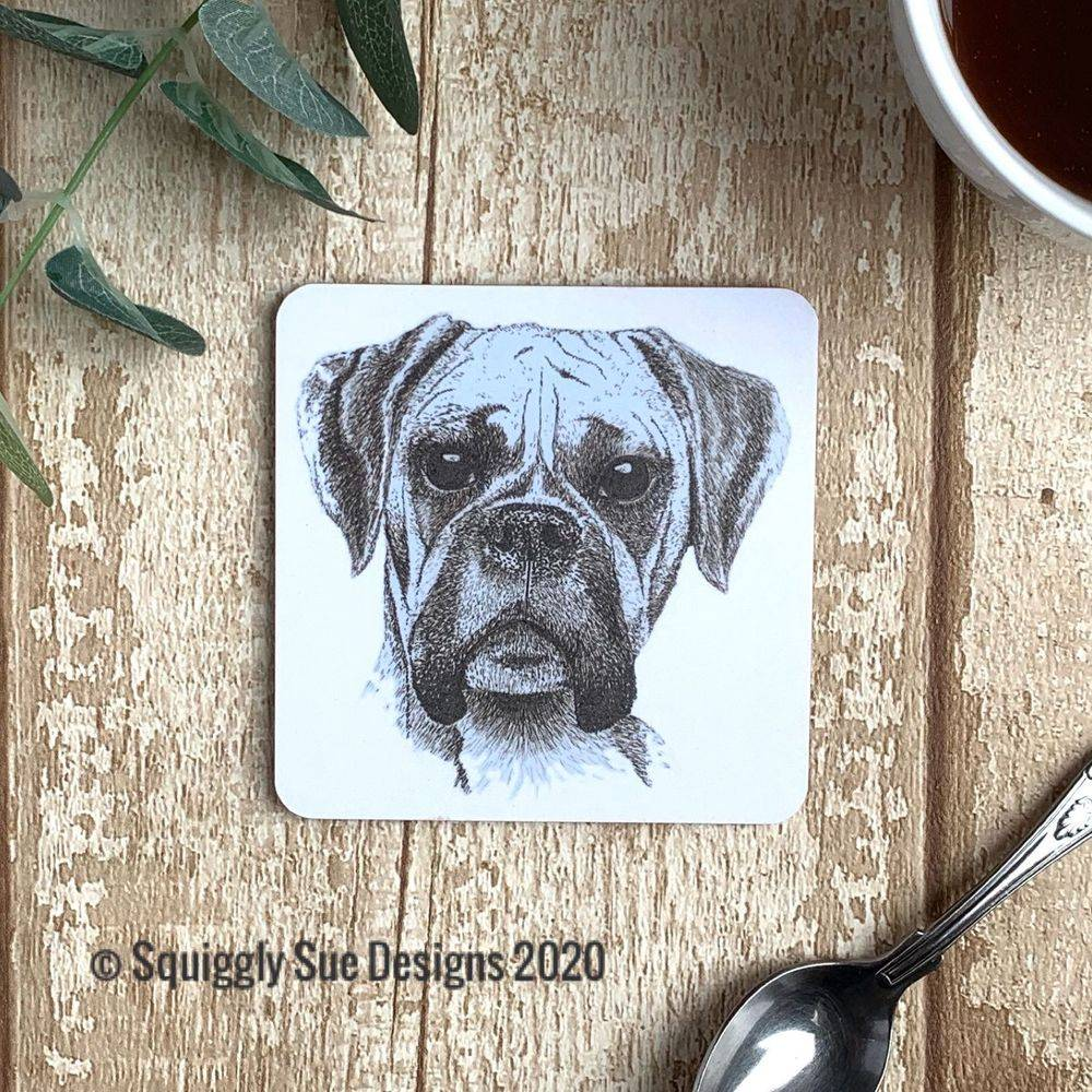 Boxer dog coaster pen & ink sketch