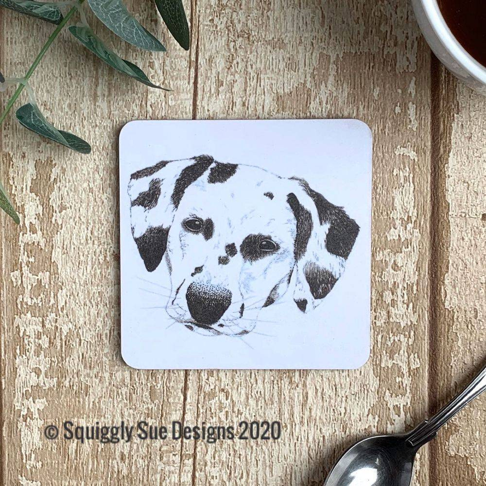 Dalmation dog coaster pen & ink sketch