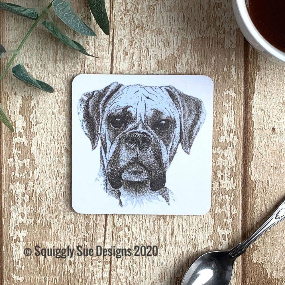 Boxer dog coaster pen & ink sketch