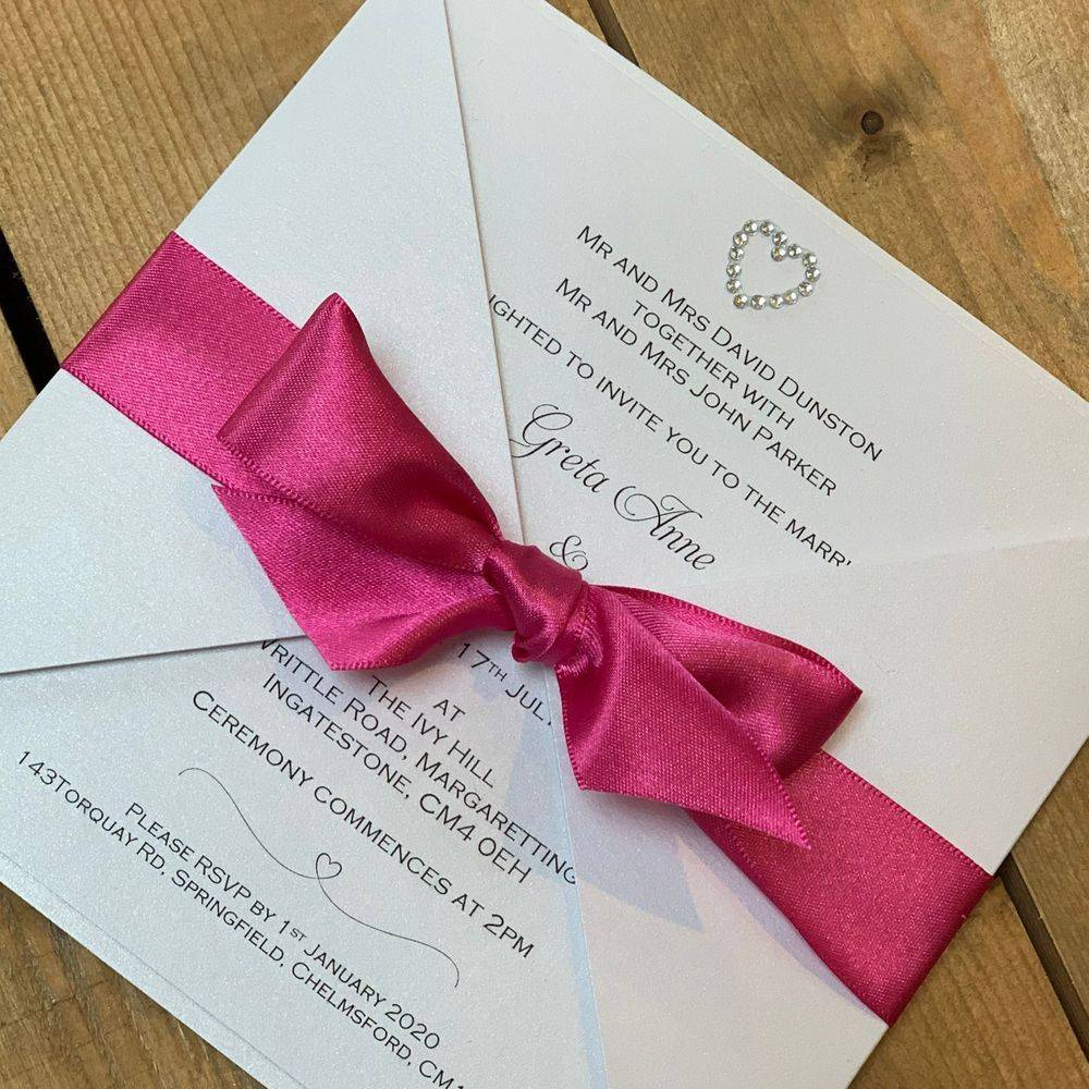 Pink and Pale Pink Wedding Invitation