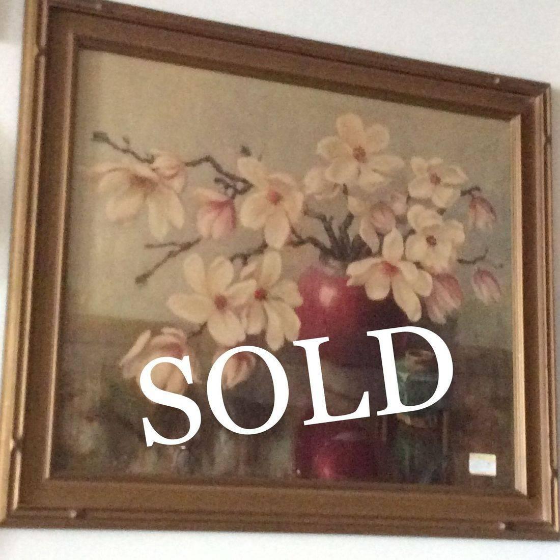 """Vintage E. Ottema """"Magnolia"""" Litho 24-1/4"""" X 28-1/2""""  $95.00"""