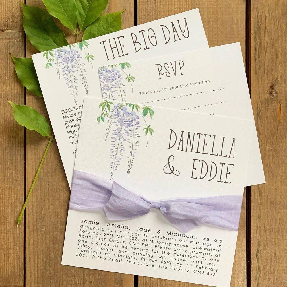 Wedding Invitation - Lilac and White