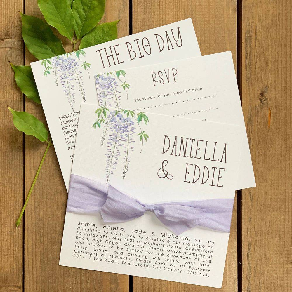 Lilac and White Wedding Invitation with Wisteria pattern and silk ribbon
