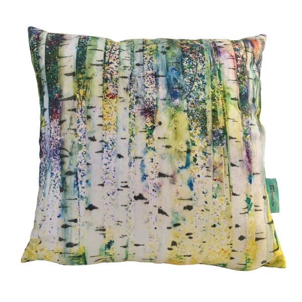 Birches vegan suede cushion A print of a section of the Birches original multicoloured mixed media print