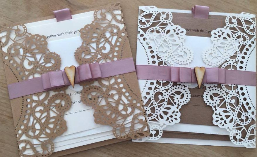 Lasercut wedding invitations, Doily wedding invitations, wedding invitations