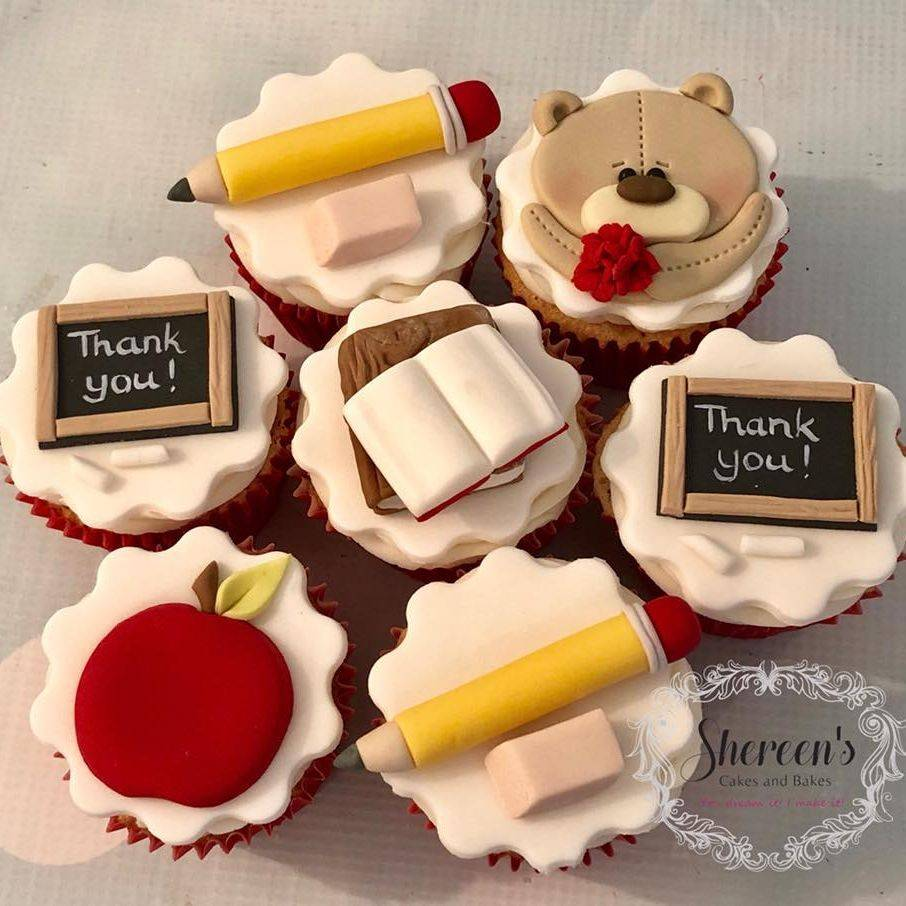 End of year Thank you teacher cupcakes blackboard chalk teddybear books pencil eraser apple