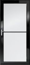 Full Glass Storm Door Retractable Screen Black