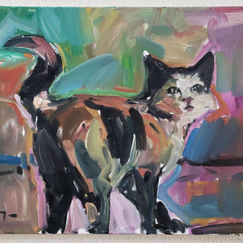 Cat original oil painting art
