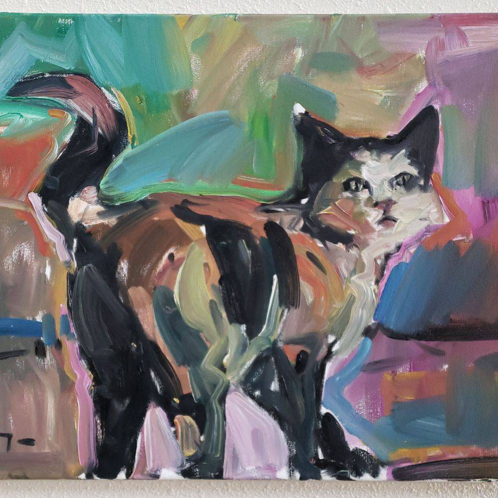 Cat original oil painting art