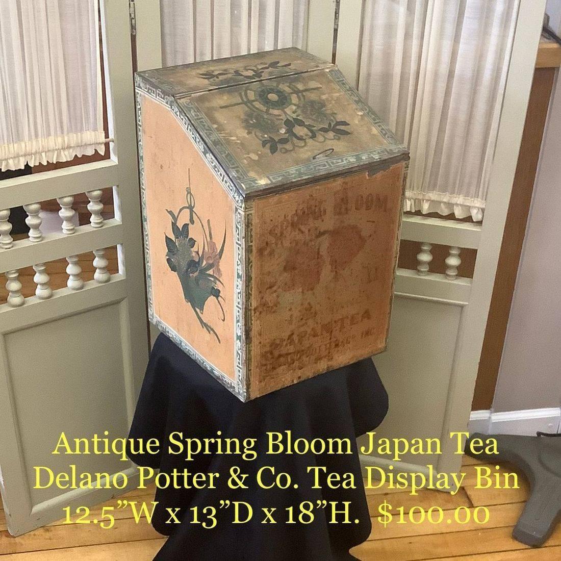 Antique Spring Bloom Japan Tea Delano Potter & Co. Tea Tin Display Bin   $100.00
