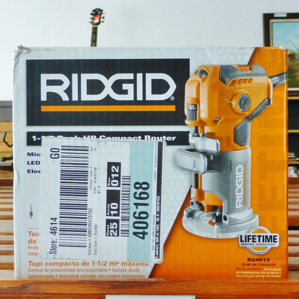 Picture of Ridgid compact router in a box on a shelf
