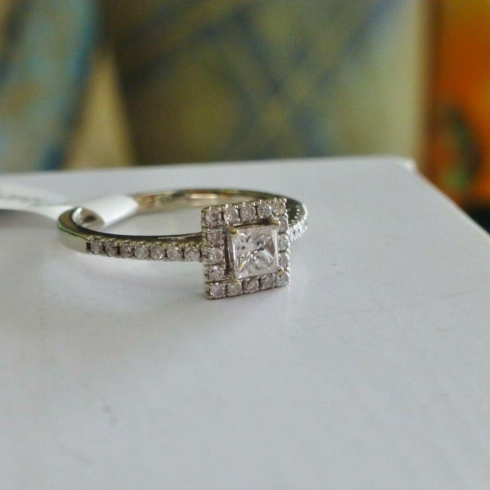 H.J. Namdar Half Carat Princess Cut Diamond Halo Engagement Ring in White Gold