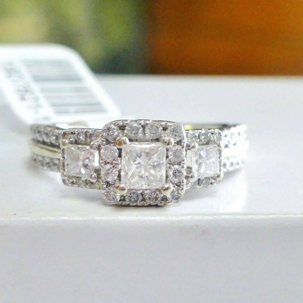 white gold vera wang three stone diamond halo engagement ring
