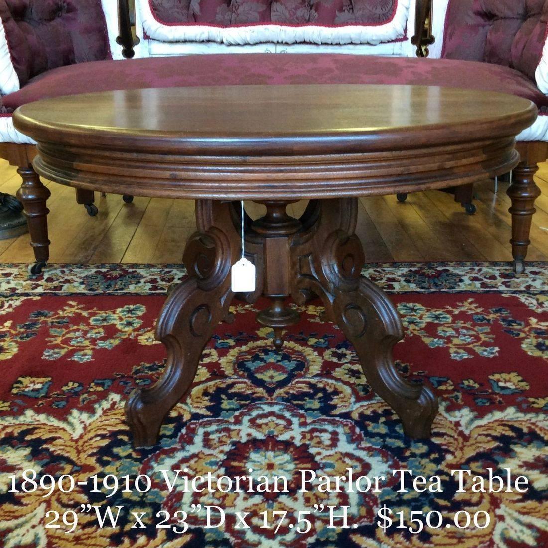"1890-1910 Victorian Parlor Tea Table 29""L x 23""W x  17-1/2"" H.   $150.00"