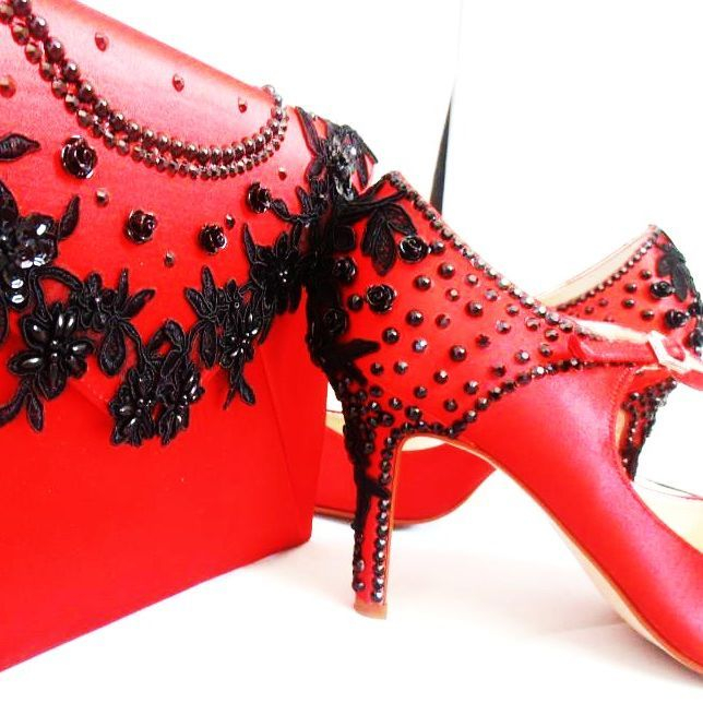 dyed red custom shoes and bag special occasion bespoke nicky rox