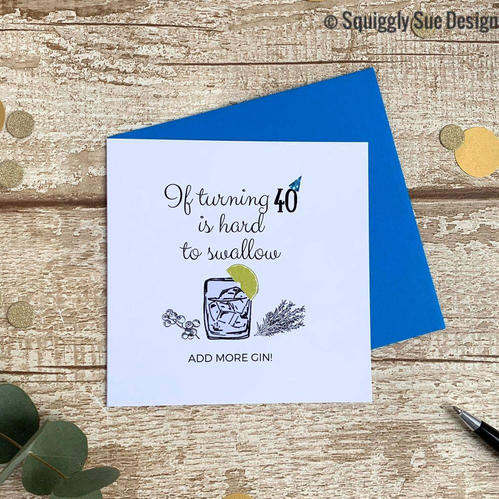 Perfect birthday card for gin lovers turning 40