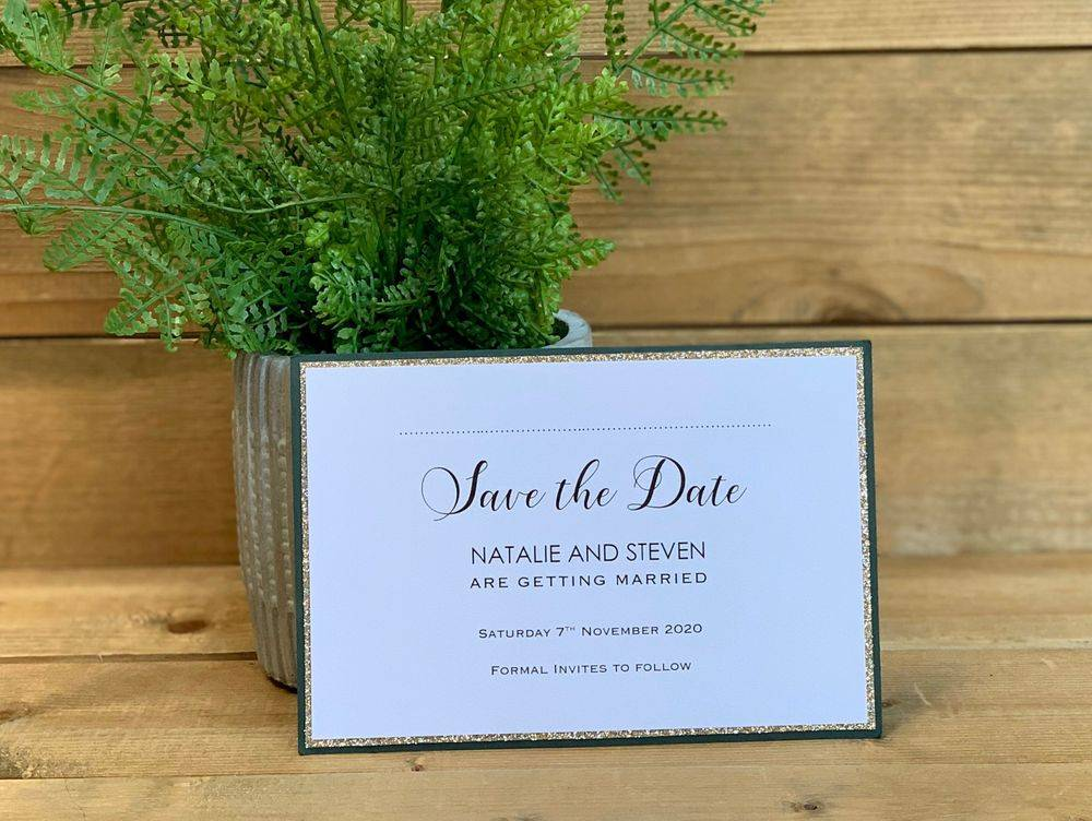 Magnetic Save the Date with gold glitter and deep green borders