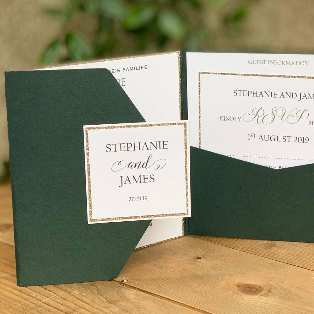 Champagne Glitter and Racing Green Wedding Invitations