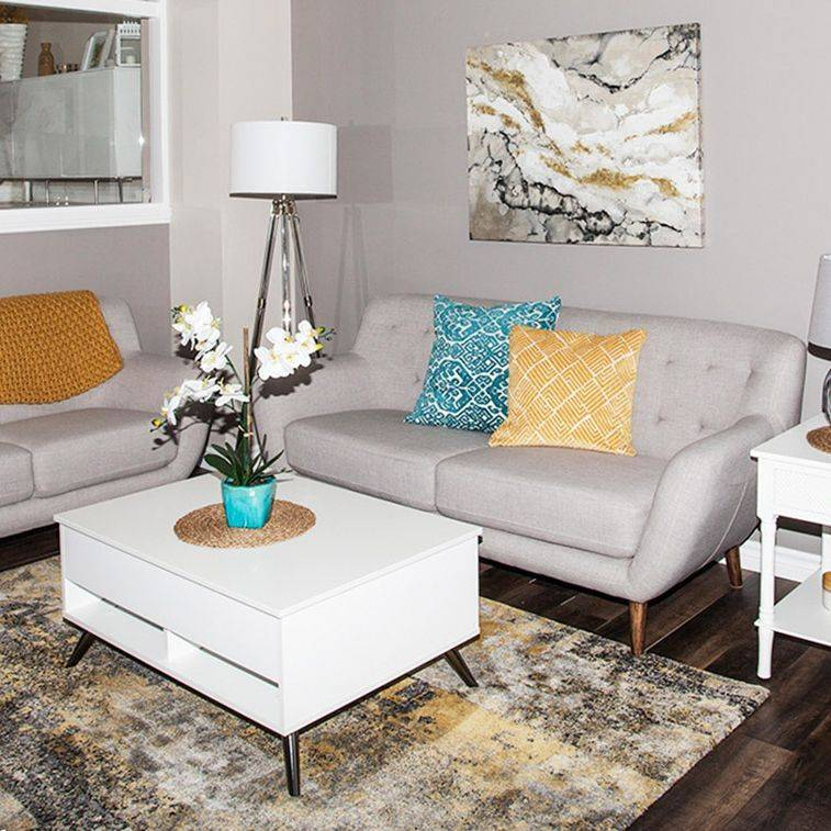 Living Room, transitinal, yellow, grey, teal, gold, brown hardwood floor