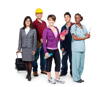 Photo of a group including - Construction Worker, yoga student, nurse, student, professional