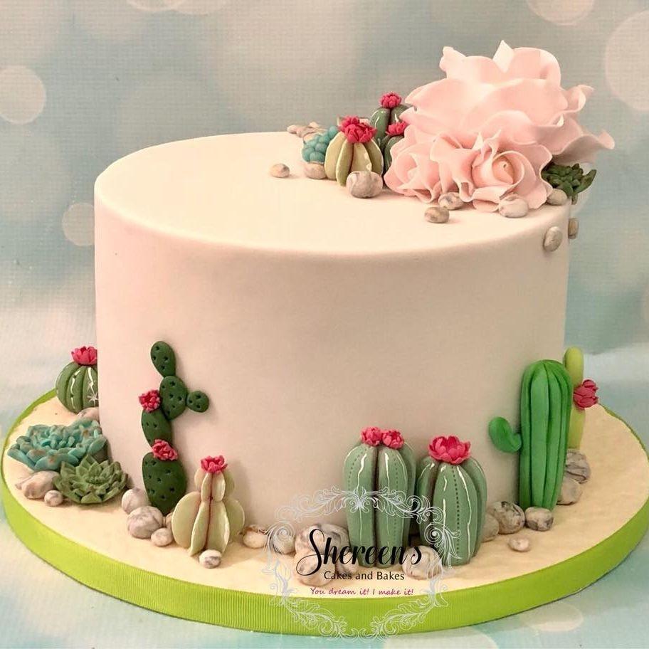 Cacti Cactus Succulent Birthday Cake Pink Roses Flowers Stones
