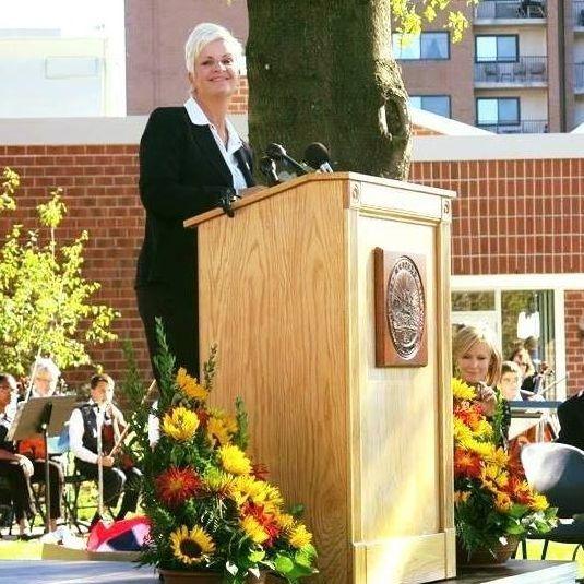 Mayor Burke at the Krystal Campbell Peace Garden