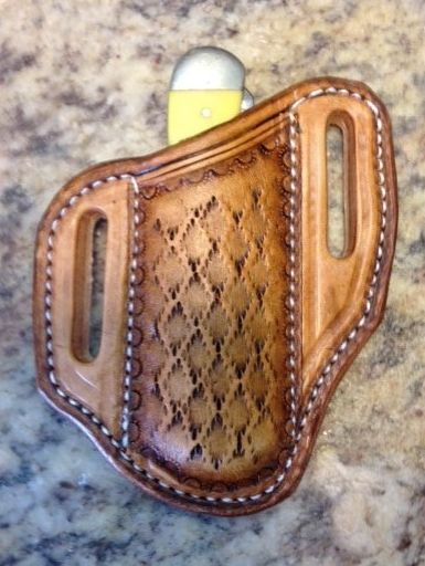 LEATHER , KNIFE SHEATH , TOOLED , CUSTOM , CASE KNIVES ,  TRAPPER STYLE