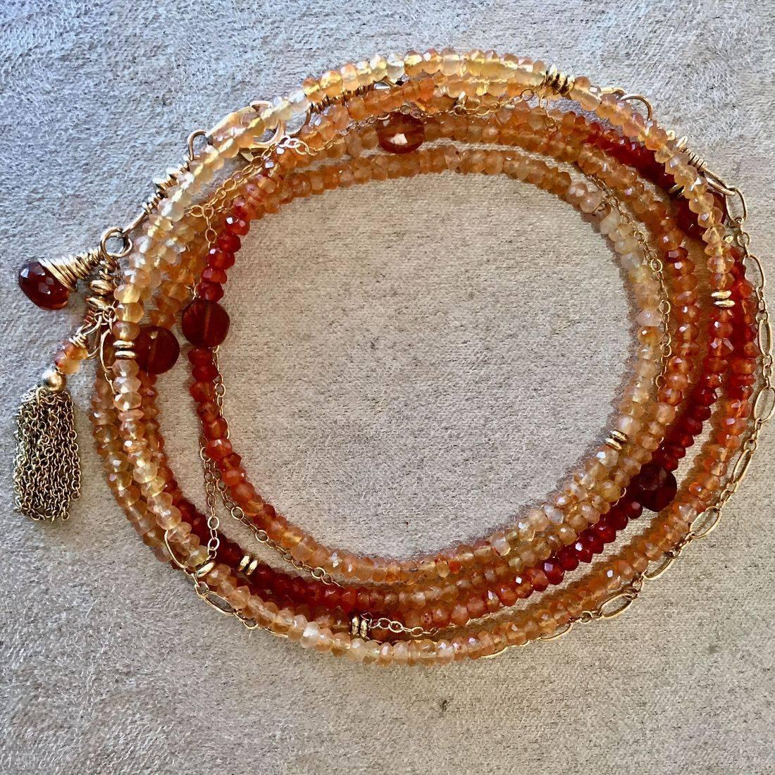 "42"" Carnelian Gemstone Wrap Bracelet, 14k Gold chain, clasp, tassel, can be worn as a necklace"
